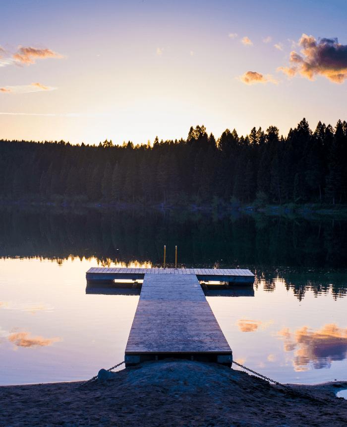 Empty dock on a lake near Fernie BC