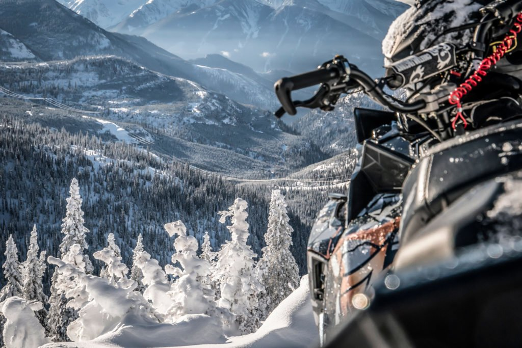 view of valley from snowmobile near Fernie BC
