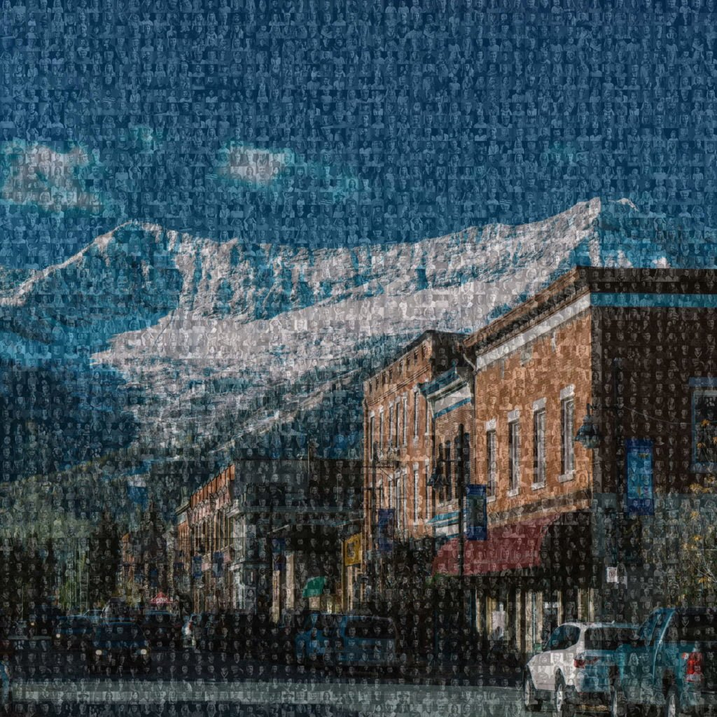 Mosaic image of Downtown Fernie showing how diverse the Fernie arts scene is.